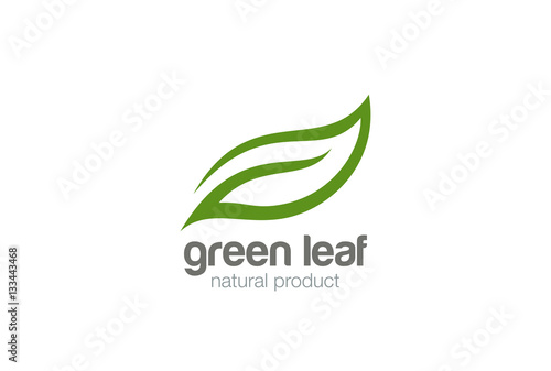 Obraz Green Leaf eco organic Logo design vector - fototapety do salonu