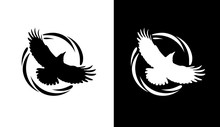 Round Logos With Raven In Blac...