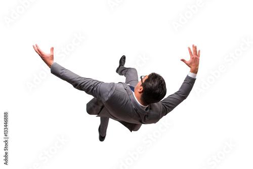 Obraz Falling businessman isolated on the white background - fototapety do salonu