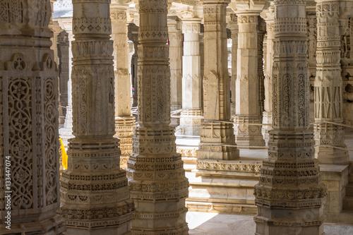 Interior or the Adinath Jain Temple in Ranakpur. Rajasthan, Indi
