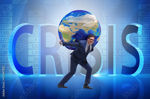 businessman carrying earth on his shoulders buy this stock photo