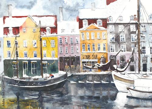 Akwarela krajobrazowa Kopenhaga głąbika kartka z pozdrowieniami miastowa ilustracja