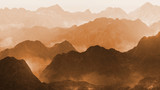 serene landscape with low crawling fog in stylized mountains, 3d illustration - 133448667