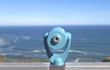 Seascape selective focus on tourist telescope. Horizontal.