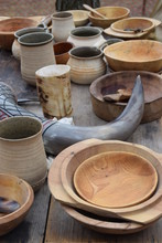Viking Table With Bowls And Mugs