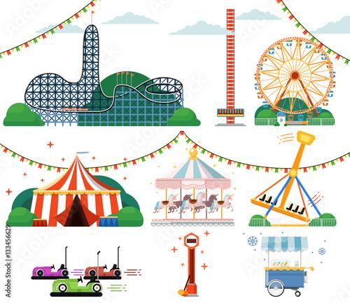 Foto Amusement park with attractions set
