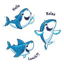 Set Of Blue Shark Cartoon Char...