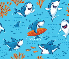 Underwater World With Funny Sharks Background