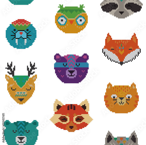 Cotton fabric Seamless pattern with knitted animal portraits