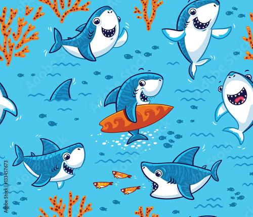 Aluminium Prints Submarine Underwater world with funny sharks background
