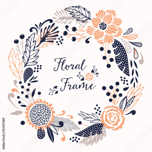 Floral vector round frame