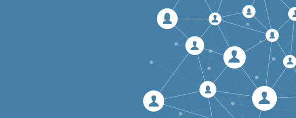 business online communication and abstract social network connection concept