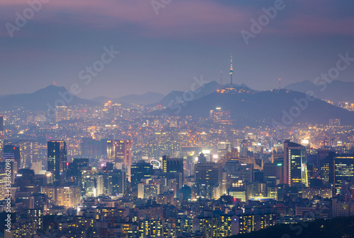 Korea city Skyline and N Seoul Tower in Seoul in Misty day, Sout Poster