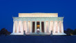 Lincoln Memorial in the National Mall, Washington DC. Lincoln Memorial on blue sky background in the dusk.