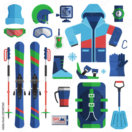 avalanche essentials  Mountain skiing gear and accessories collection. Ski jacket ...
