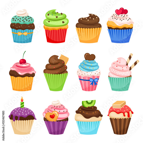 Foto  Delicious cupcakes and vector sprinkles muffin set isolated on white background