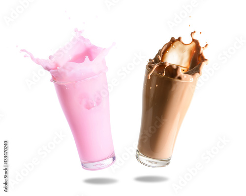 Poster Milkshake Strawberry milk and chocolate milk splashing out of glass., Isolated white background.