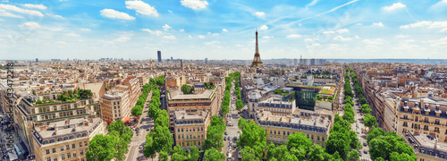 Staande foto Parijs Beautiful panoramic view of Paris from the roof of the Triumphal