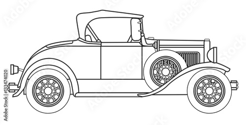 фотография  Early Motor Car Outline