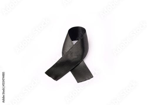 Black Ribbon Bow Fabric Texture Ribbon Awareness Symbol Of