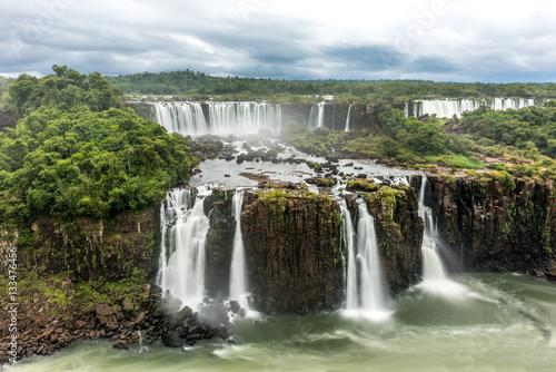 Fotobehang Grijze traf. Brazil Side of Iguazu Falls