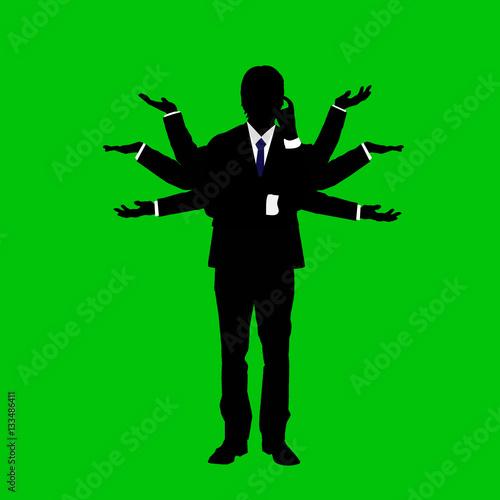 Fotografie, Obraz  感情表現するビジネスマンのシルエット