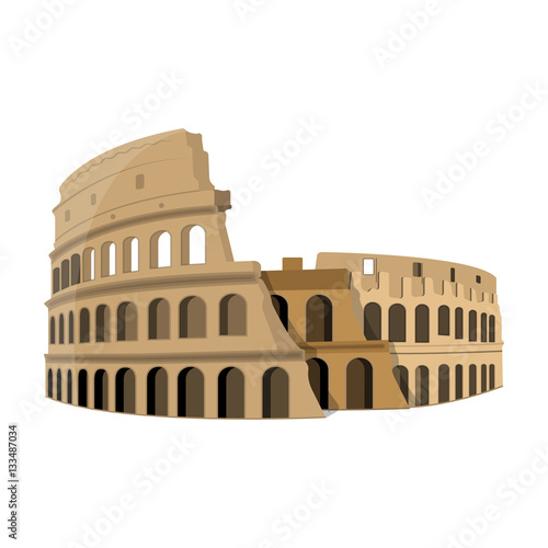 Colosseum in Italy icon in cartoon style isolated on white background Wallpaper Mural
