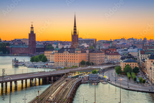 Montage in der Fensternische Stockholm Stockholm. Cityscape image of Stockholm, Sweden during sunset.
