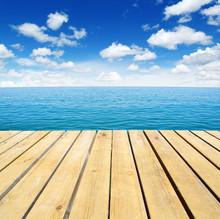 Wood, Blue Sea And Sky