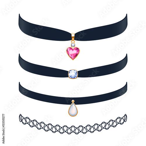Fotografía Choker necklaces set vector illustration.