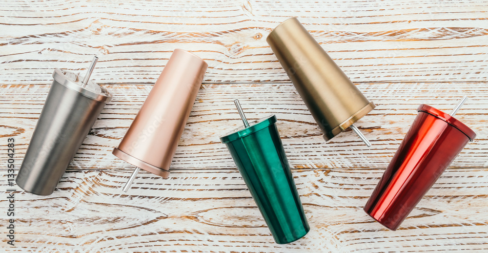Fototapeta Stainless and tumbler cup