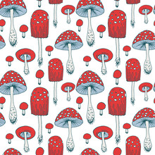 Seamless Pattern With Amanita ...