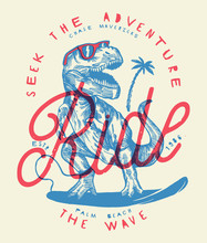 Ride The Wave - Dinosaur Surfer Drawing Vintage Print.