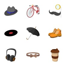 Trendy Hipsters Icons Set, Fla...
