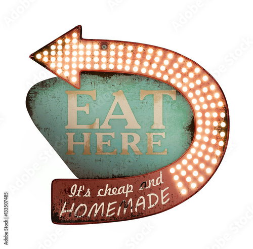 3D illustration, Funny vintage sign Eat here, wall decor Canvas Print