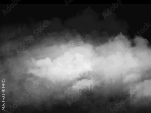 Poster Fumee Fog or smoke isolated transparent special effect. White vector cloudiness, mist smog background. illustration