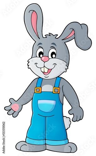 Staande foto Dolfijnen Happy bunny in overalls