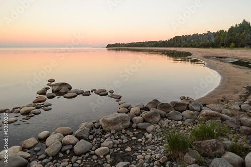 Fotografie, Obraz  summer moonlight on Lake Ladoga