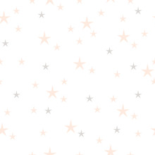 Hand Drawn Stars Seamless Pattern. Pink And Gray Color On A White Background. Different Size. Irregular.