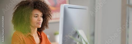 Fotografie, Obraz  Cheerful businesswoman working on desktop computer