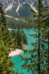 Panel Szklany Rzeki i Jeziora Il Lago di Braies e Croda del Becco,Pragser Wildsees, Braies, Val Pusteria, Bolzano, Trentino Alto Adige, Itali