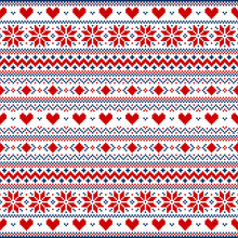 Red And Blue Pixel Valentine's Day Vector Background With Hearts And Snowflakes