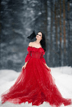 Woman Witch In Red Dress And W...