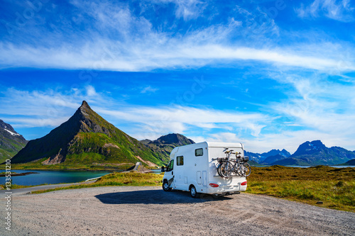 Family vacation travel, holiday trip in motorhome Plakat
