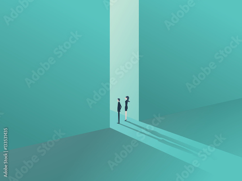 Fotografía  Business people standing in a gate or door as a symbol of business opportunity or career progress