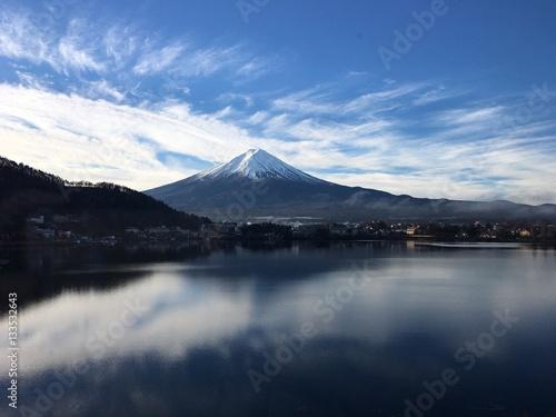 Aluminium Prints Dark grey mount fuji at kawaguchiko lake in japan