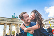 canvas print picture Happy couple having fun in Berlin