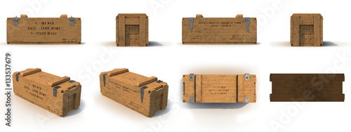 Photo  military old case box renders set from different angles on a white