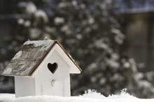 Small Wooden Birdhouse In Snow...