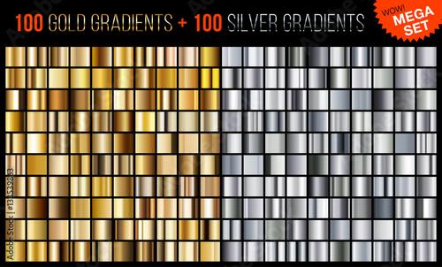 Fotografía  Vector mega set of gold and silver gradients